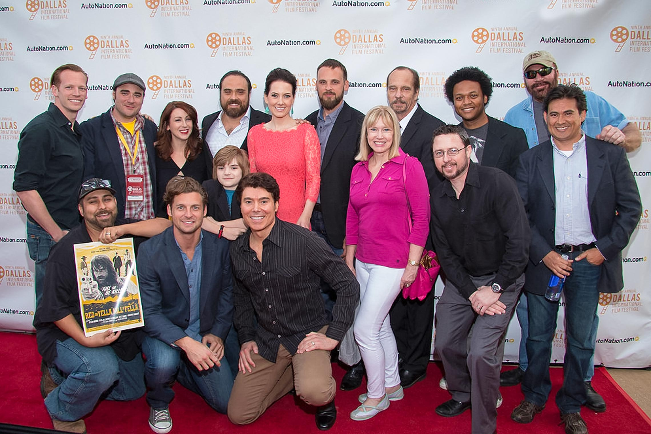 Red carpet shot of the cast, crew and directors of <em>Kill or Be Killed<em> at the Dallas International Film Festival.