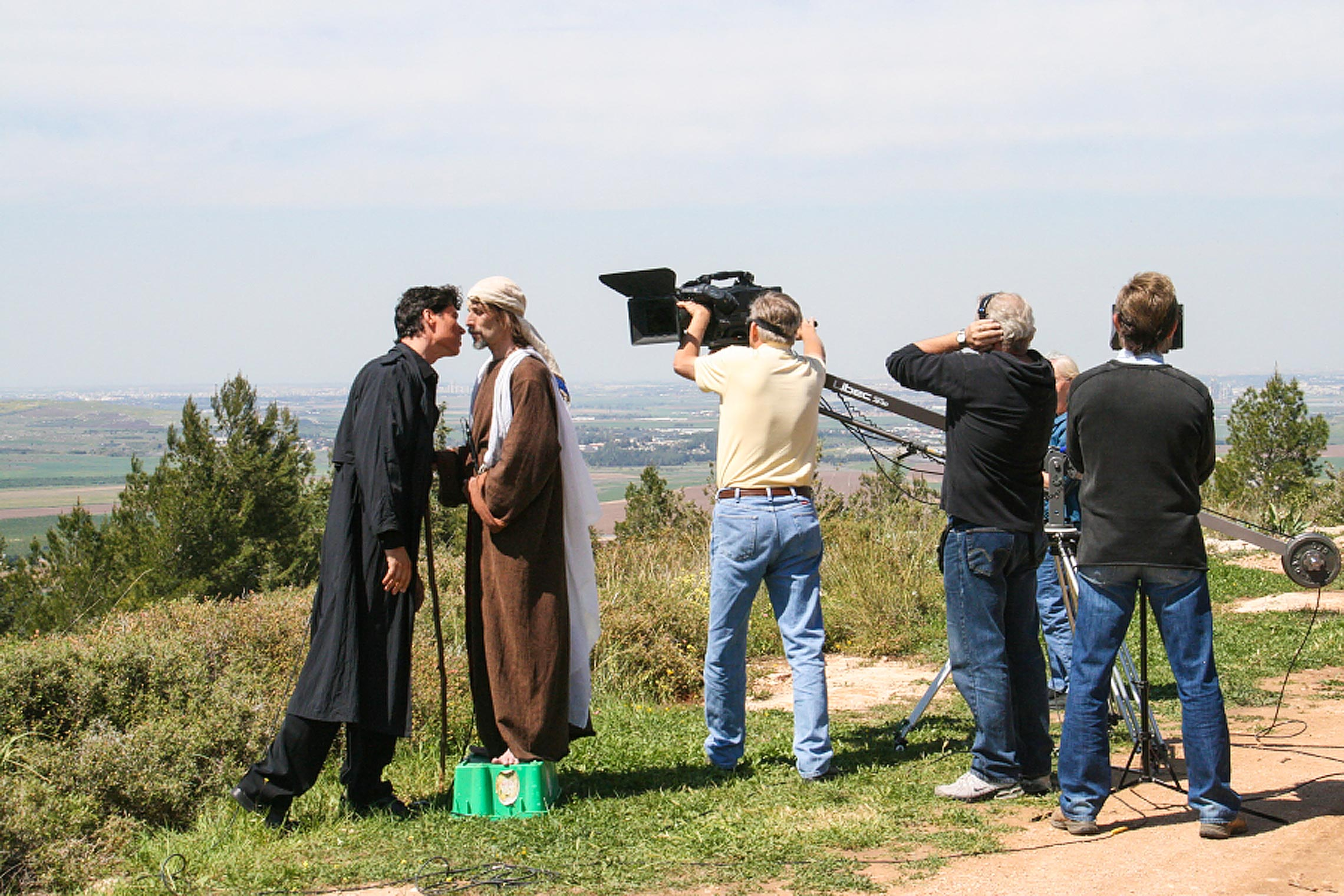 Shooting the temptation scene where the Devil tempts Jesus in <em>The Dark Prince</em>.