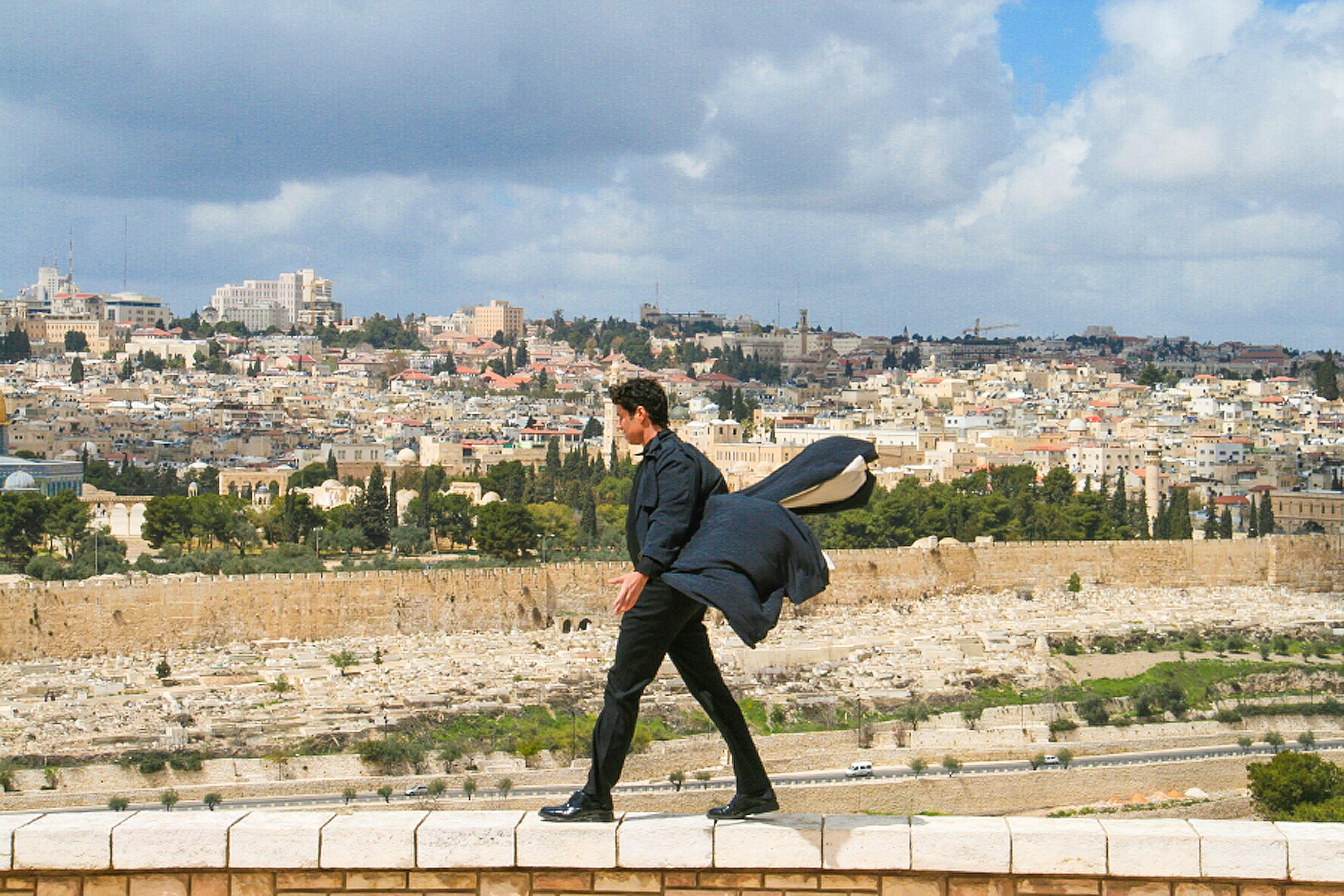 Walking during filming of <em>The Dark Prince</em> in Israel.