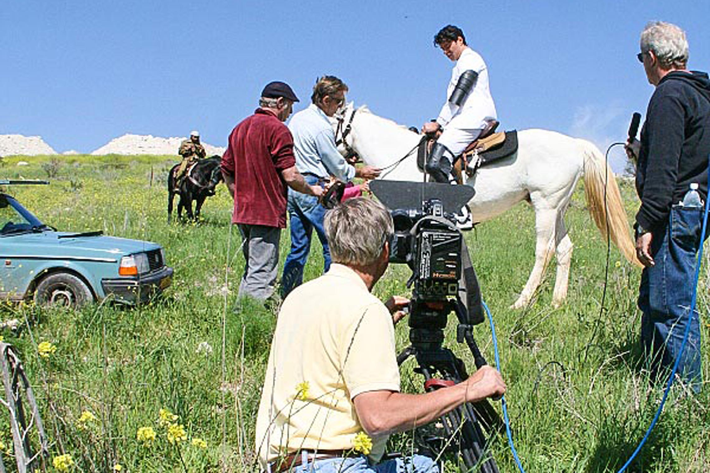 Behind the scenes shooting the White Horsemen of the Apocalypse in <em>The Dark Prince</em>.